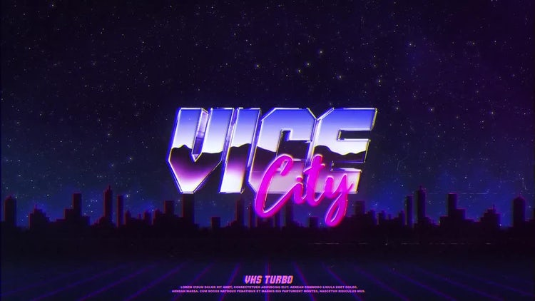 After Effects Template (Free Retro Wave Intro Flat Design