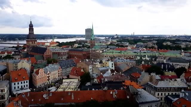 Aerial View Of Riga: Stock Video