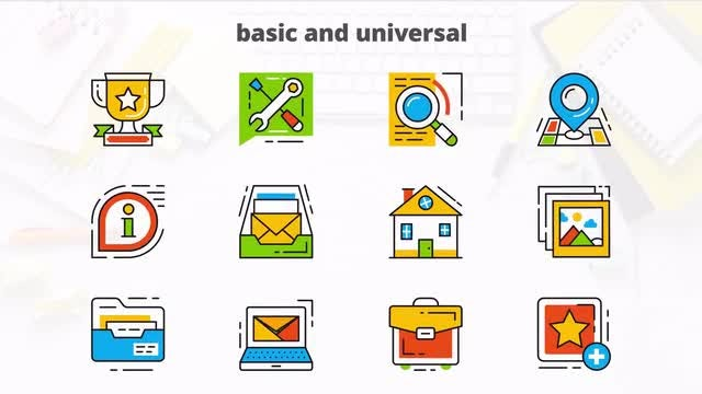 Basic Universal - Flat Animated Icons: After Effects Templates