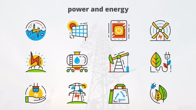 Power and Energy - Flat Animated Icons: After Effects Templates