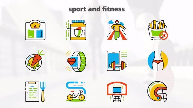 Sport and Fitness - Flat Animated Icons: After Effects Templates