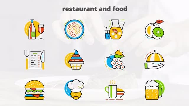 Restaurant & Food - Flat Animated Icons: After Effects Templates