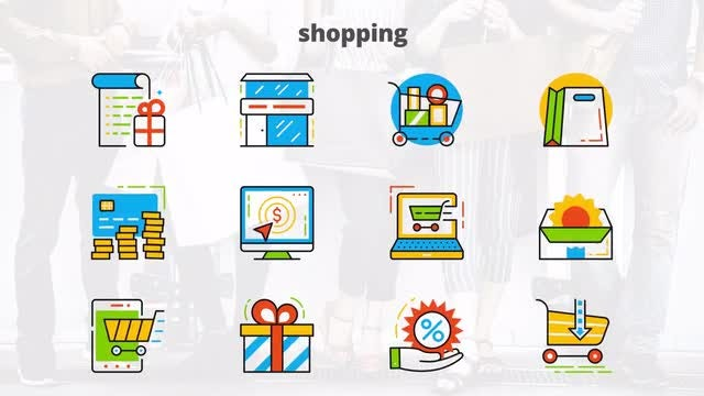 Shopping - Flat Animated Icons: After Effects Templates