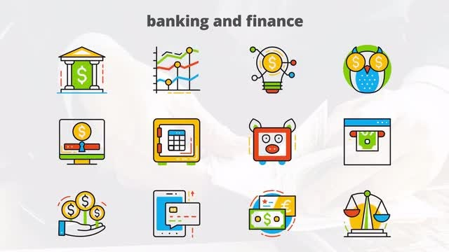 Banking and Finance - Flat Animated Icon: After Effects Templates