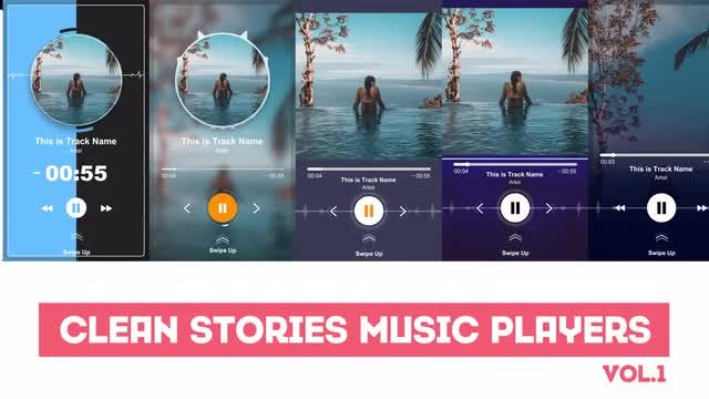 Clean Stories Music Players: After Effects Templates