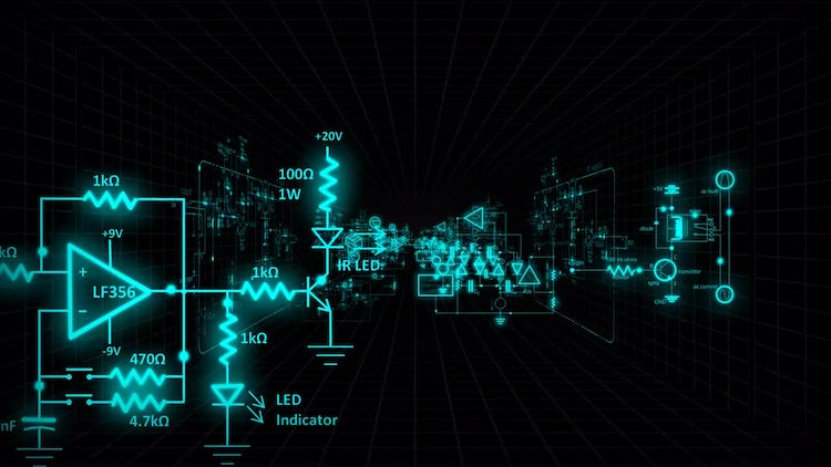 Circuit Diagrams Background: Stock Motion Graphics