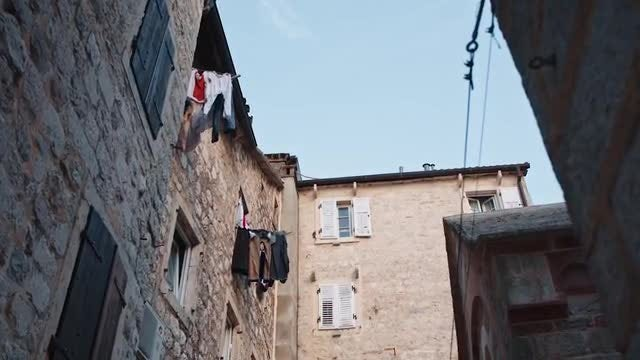 Clothes Line In Old Town: Stock Video