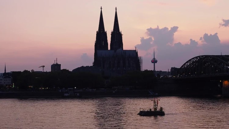 Cologne Skyline At Sunset: Stock Video