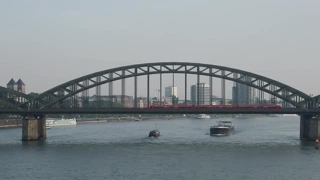 Train On Bridge: Stock Video