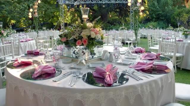 Garden Wedding Tables: Stock Video