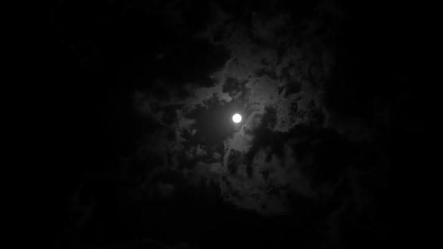 Cloudy Moonlit Night: Stock Video