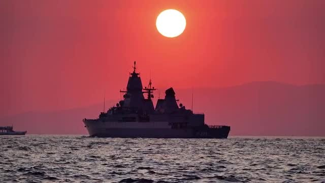 Warship On The Sea: Stock Video