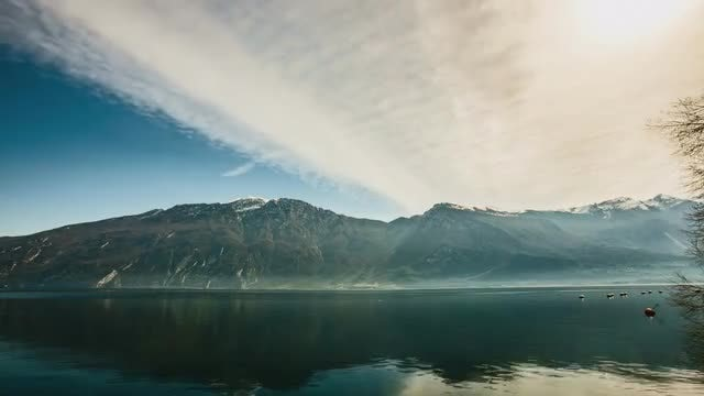 Lake, Clouds and Mountains: Stock Video