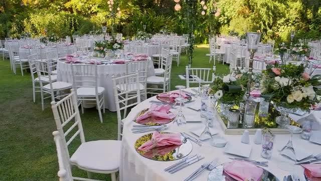 Garden Wedding Reception: Stock Video
