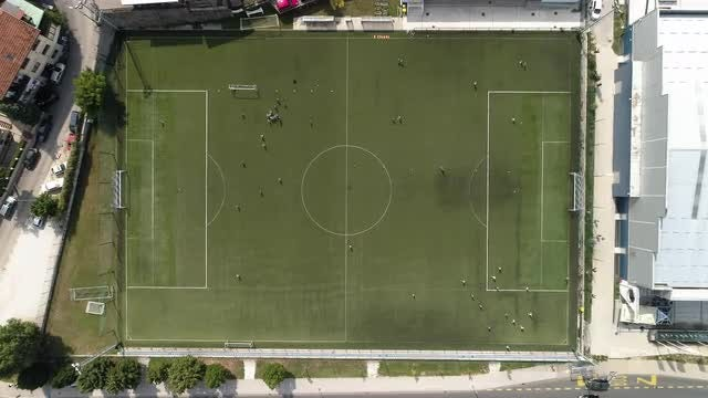 Soccer Pitch Aerial: Stock Video