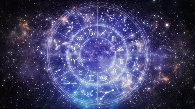 Zodiac Wheel In Universe: Stock Motion Graphics