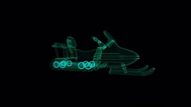 Trail Snowmobile Hologram: Stock Motion Graphics