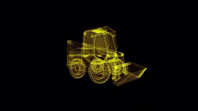 Skid Steer Loader Hologram: Stock Motion Graphics