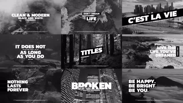 Black And White Typography V.2: After Effects Templates