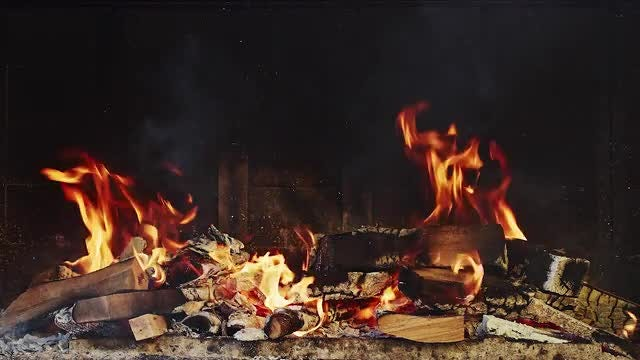 Burning Fireplace: Stock Video