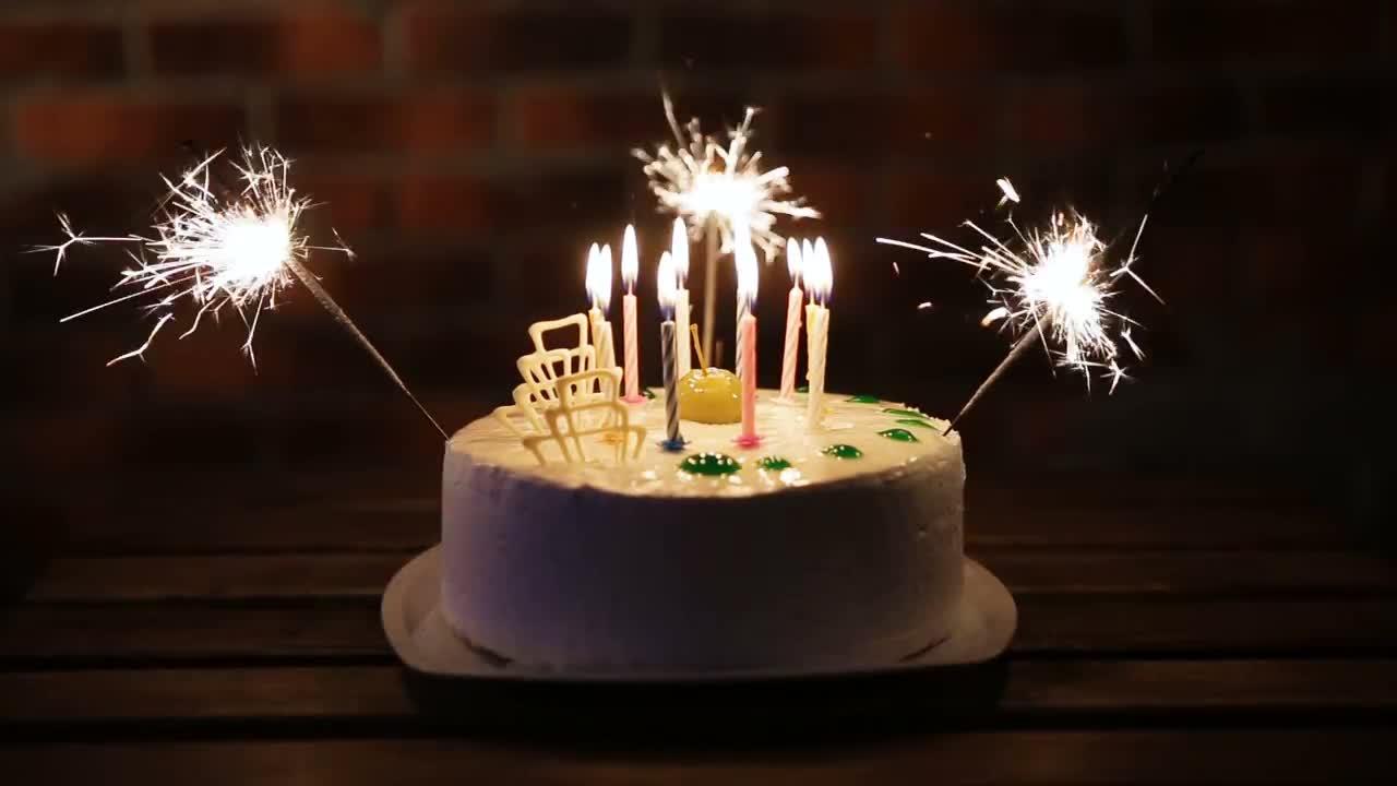 Superb Birthday Cake With Sparklers Stock Video Motion Array Funny Birthday Cards Online Inifodamsfinfo