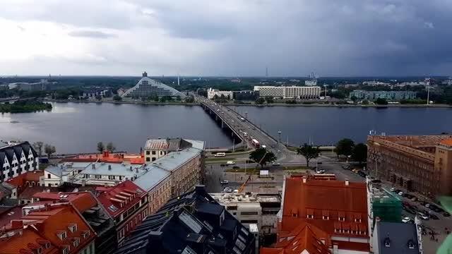 Riga Cityscape With River: Stock Video