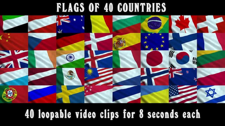 Flags of 40 Countries: Stock Motion Graphics