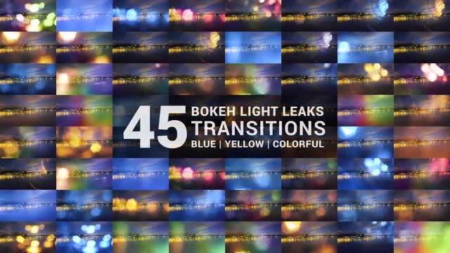 45 Bokeh & Light Leaks Transitions: Stock Motion Graphics