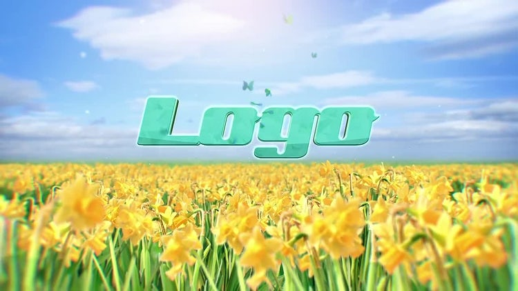 Butterflies and Spring Flowers Logo Reveal: After Effects Templates