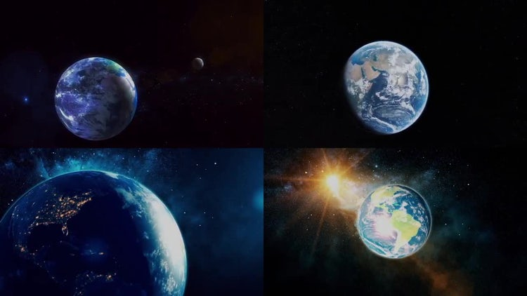 4 Earth Backgrounds: Stock Motion Graphics