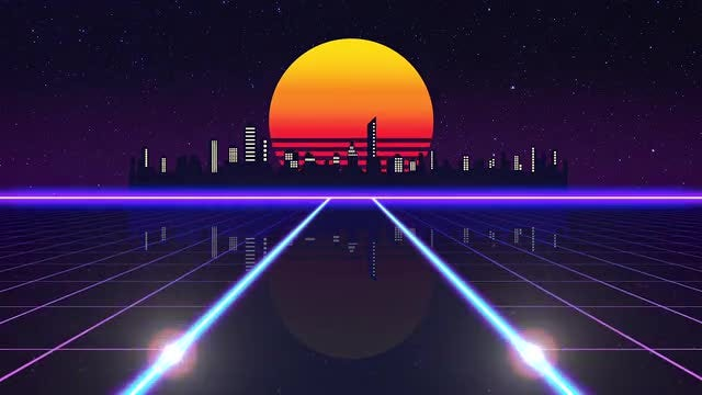 Retro Futuristic Road: Stock Motion Graphics