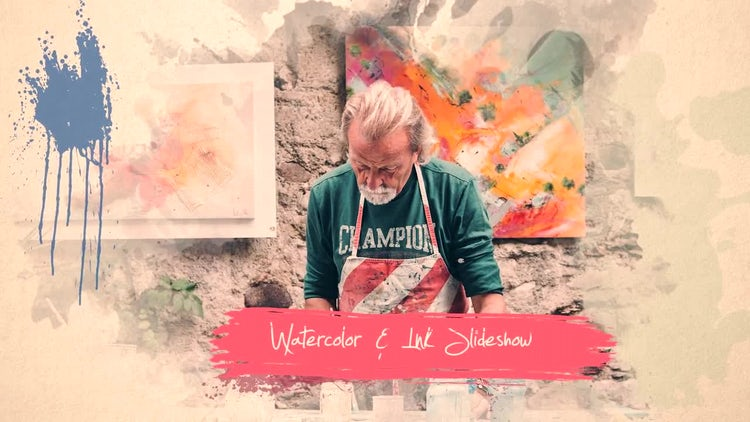 Watercolor & Ink Slideshow: Premiere Pro Templates