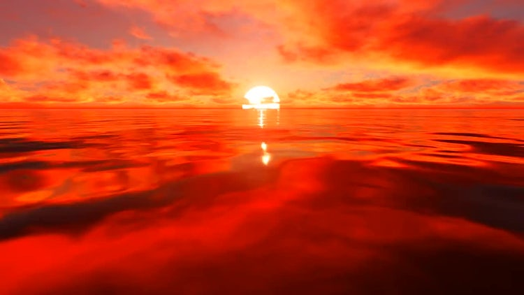 Red Sunlight Reflection On Water: Stock Motion Graphics