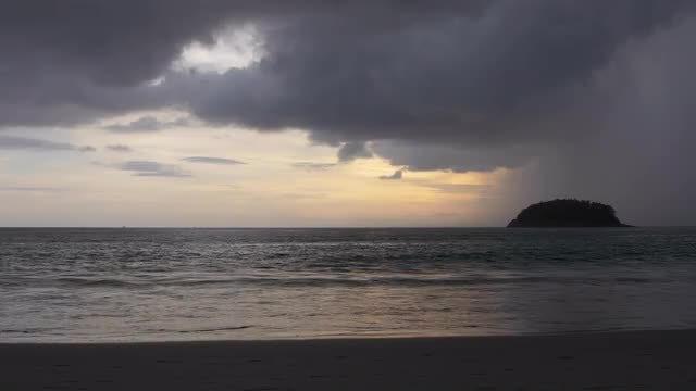 Tropical Beach Rain: Stock Video