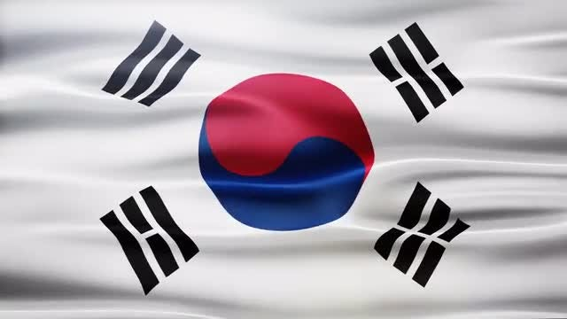 South Korea Flag: Stock Motion Graphics