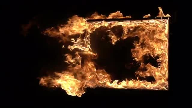 Window Frame On Fire: Stock Video
