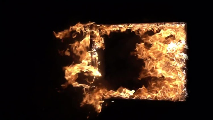 Burning Window Frame: Stock Video