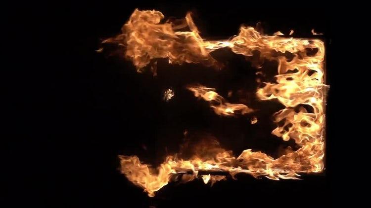 Burning Window Frame: Stock Video