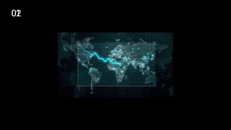Decreasing Graph World Map: Stock Motion Graphics
