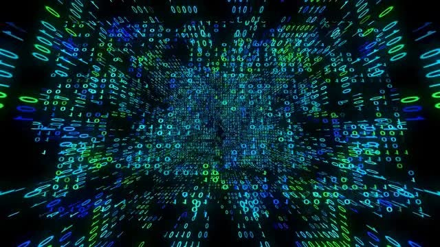 Binary Data Matrix Cube: Stock Motion Graphics