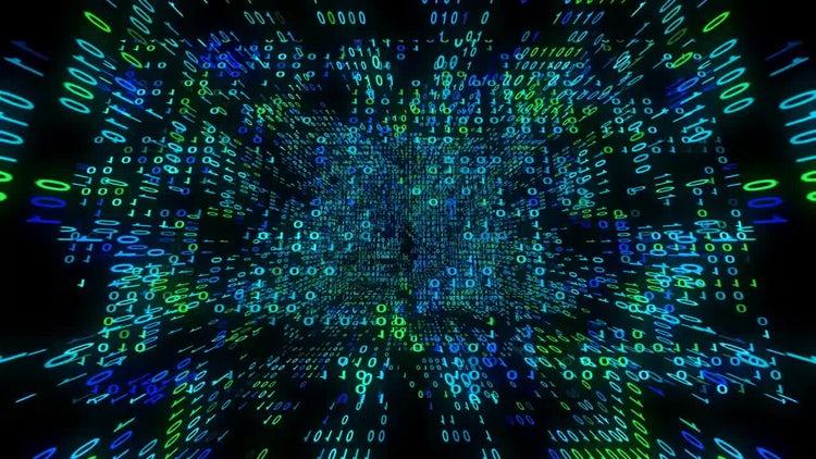 Binary Data Matrix Cube: Stock Motion Graphics