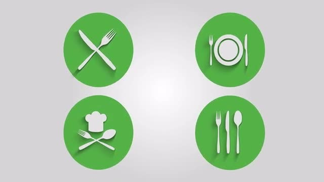 Kitchen Restaurant Icons: Stock Motion Graphics