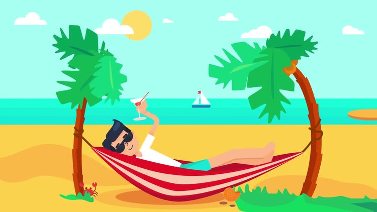 Vacation On Tropical Island: Stock Motion Graphics