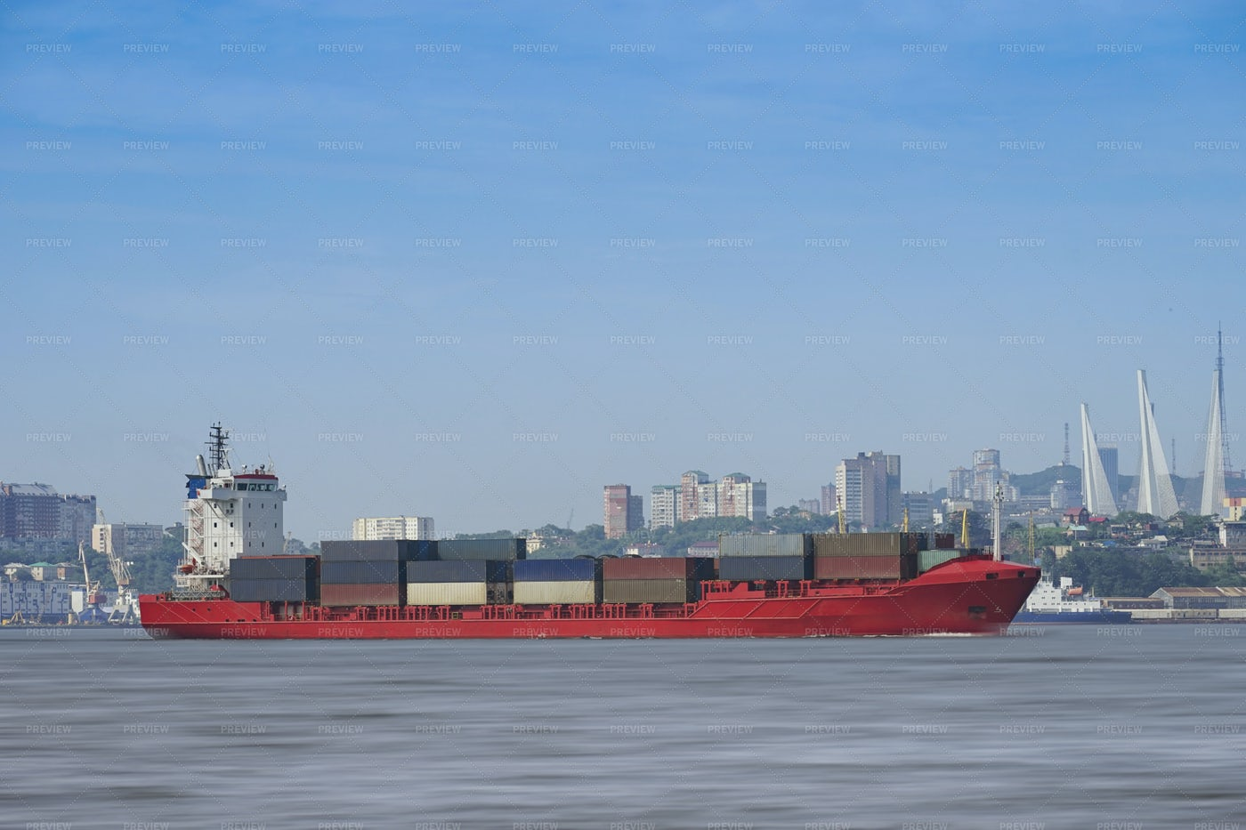 Loaded Container Barge: Stock Photos