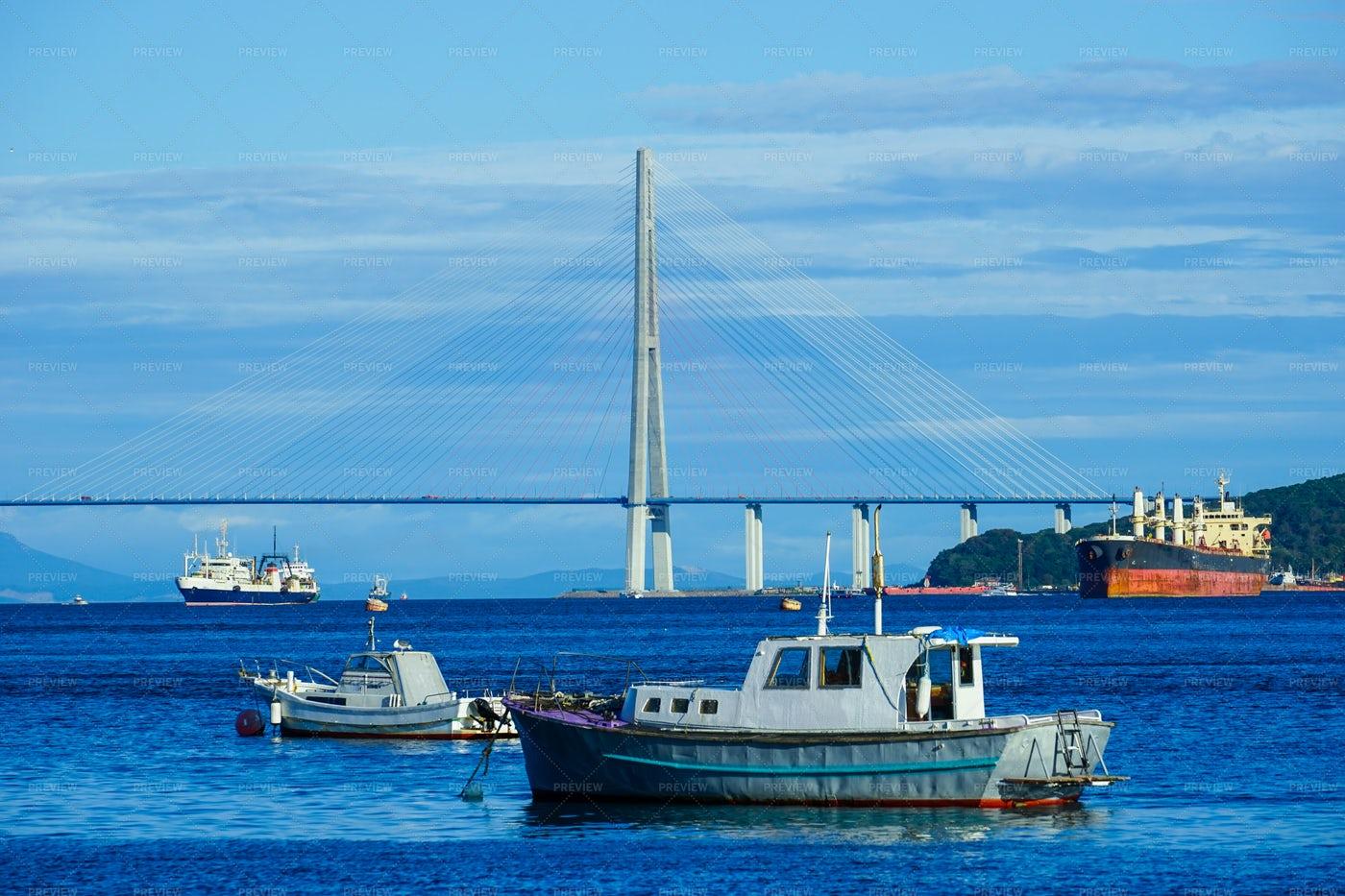 Vladivostok Seascape With Boats: Stock Photos