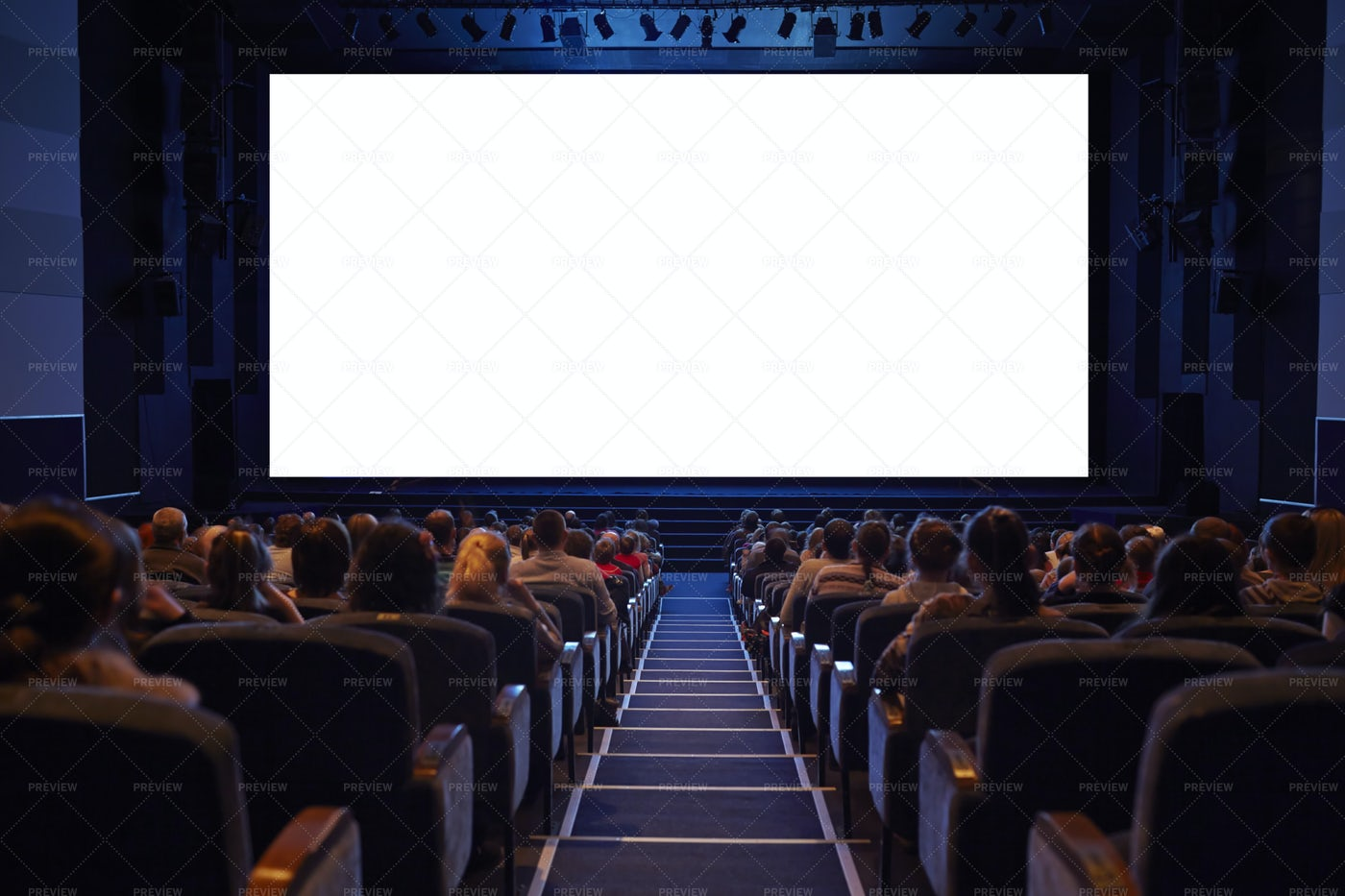 White Cinema Screen With Audience: Stock Photos