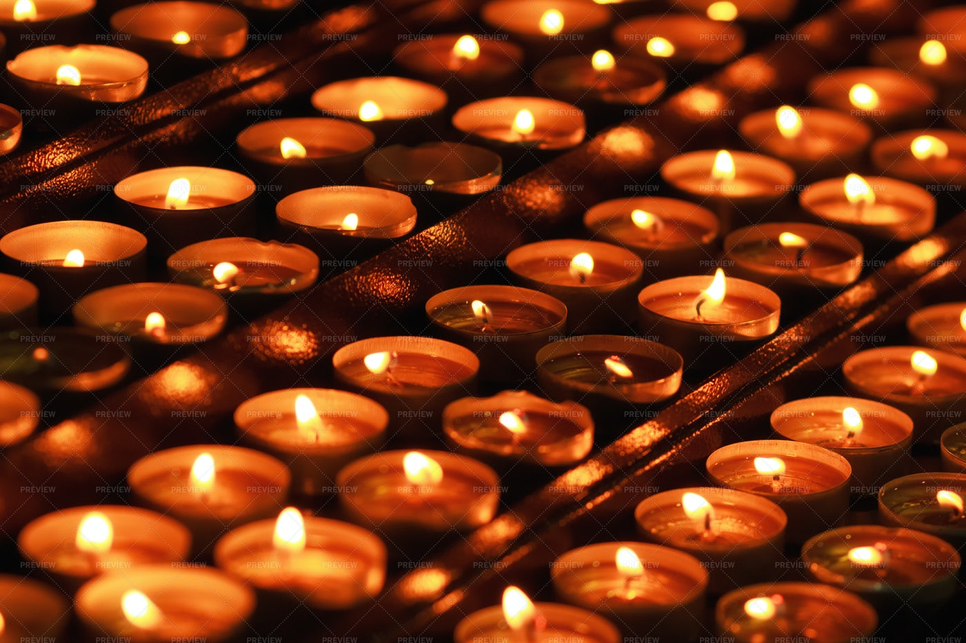 Many Candles In Darkness: Stock Photos