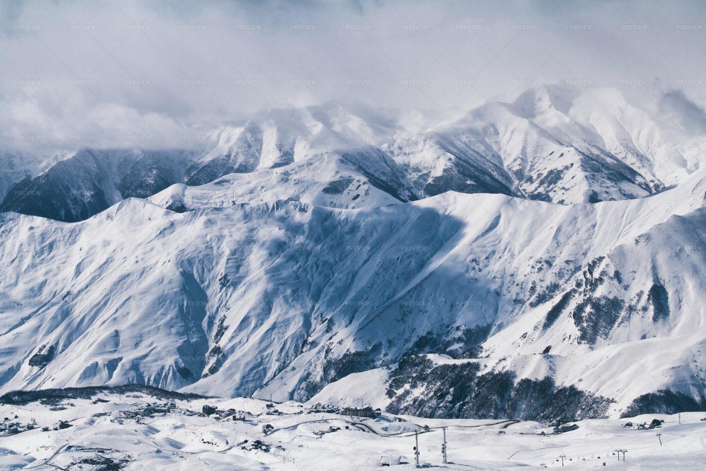 Winter Ski Resort In The Mountain: Stock Photos
