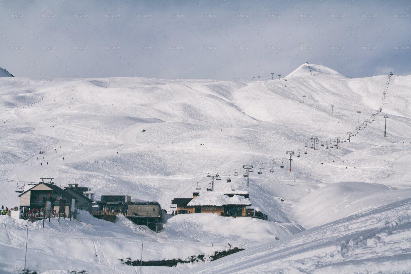 Ski Resort In The Mountains: Stock Photos