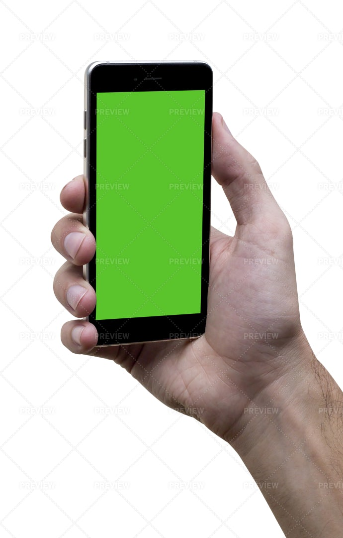 Angled Phone With Green Screen: Stock Photos